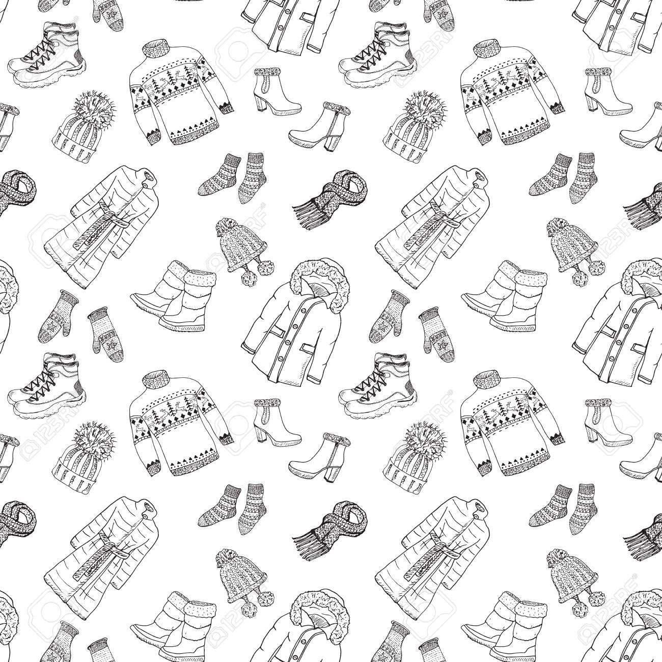 1300x1300 Winter Season Doodle Clothes Seamless Pattern. Hand Drawn Sketch