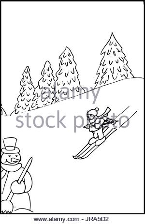 300x463 Line Drawing Of A Winter Landscape With Winter Sports Stock Photo