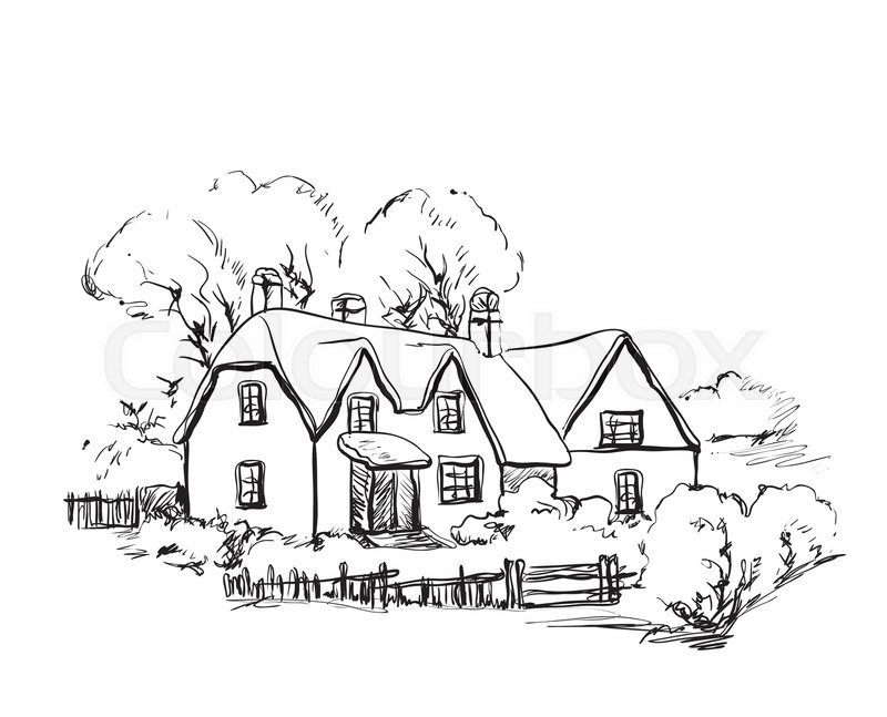 800x647 Winter Background, House In The Snow Landscape. Sketching Stock