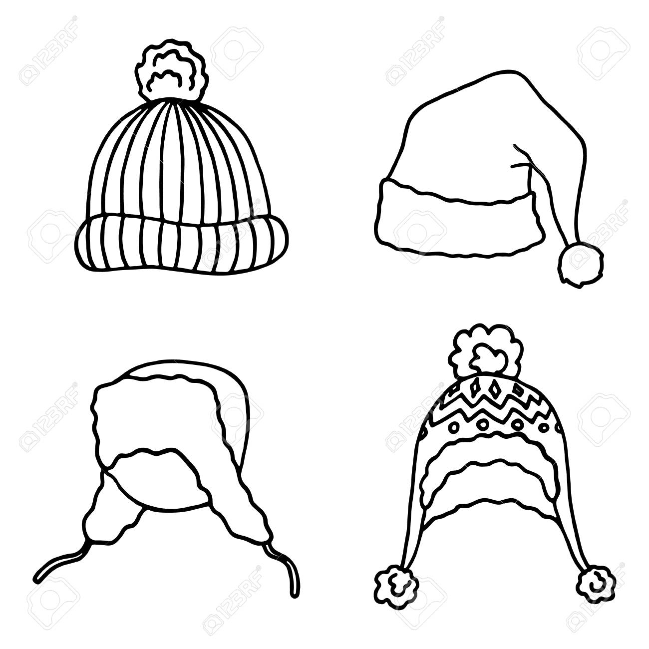 It is a picture of Playful Winter Hat Drawing