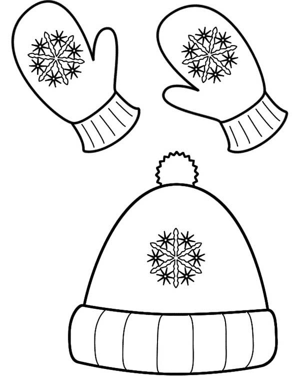 600x750 Winter Season Hat And Mittens In Winter Season Coloring Page