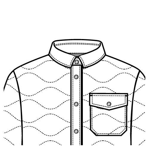 500x500 Down Fill Shirt Jacket Collar Flat Sketch With Full Fashion