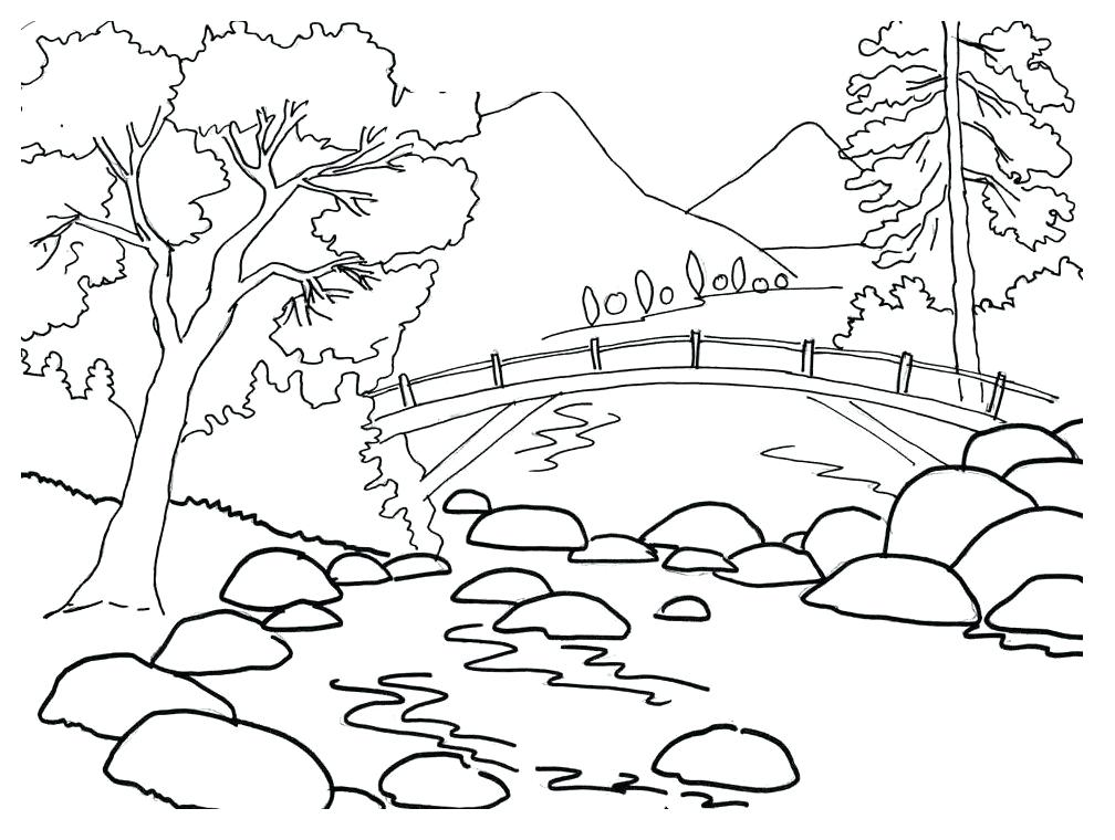 1008x760 Perfect Printable Scenery Coloring Pages Online Fall Images