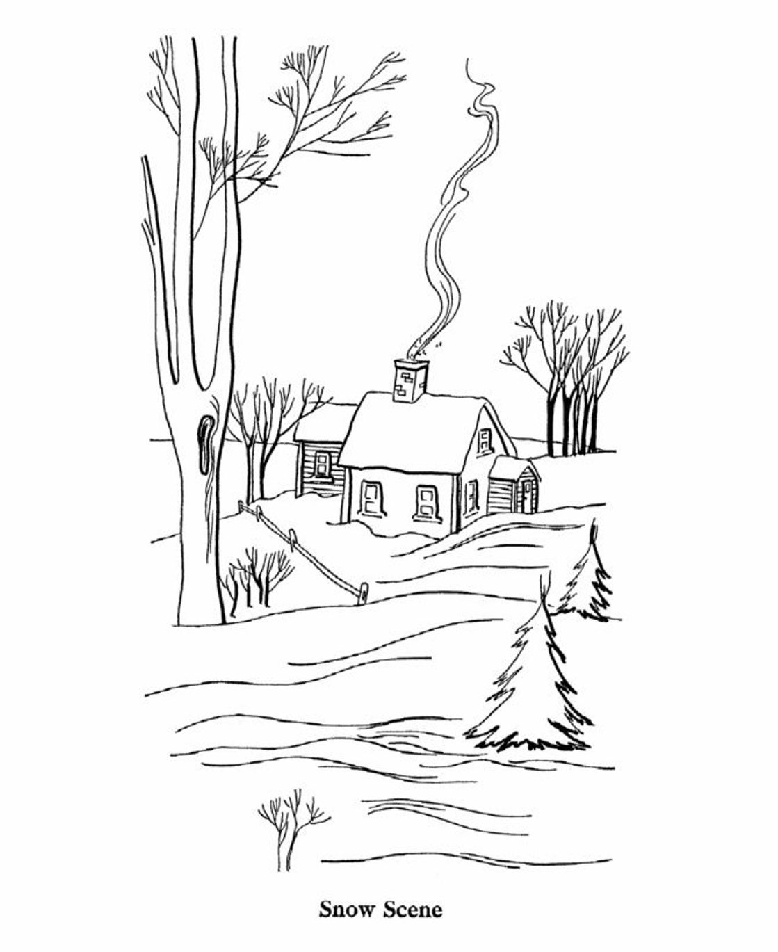 1119x1369 Printable Winter Scene Coloring Pages