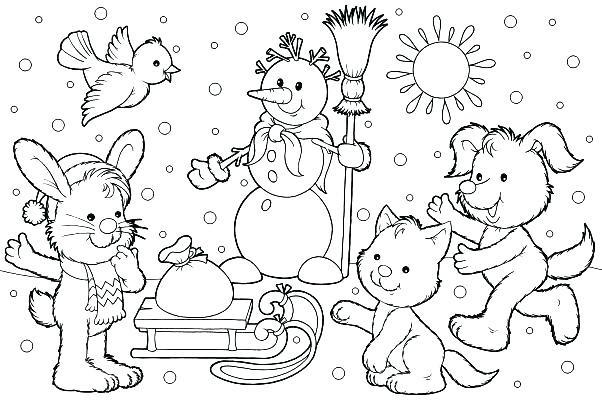 602x400 Winter Scene Coloring Page
