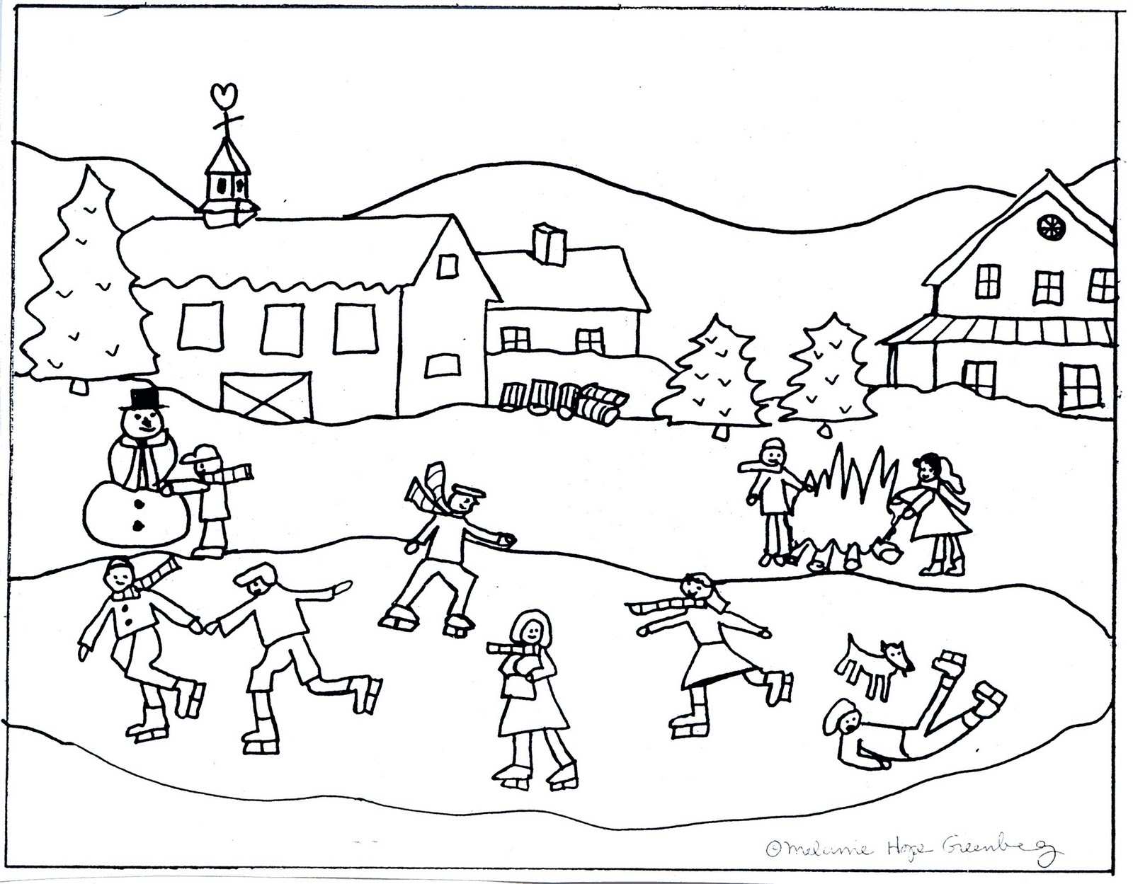 1600x1249 Winter Scene Coloring Pages Winter Scene Skating Coloring Page 2