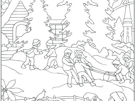 440x330 Winter Scenes Coloring Pages Coloring Page Of A Winter Church