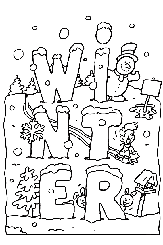 567x850 Winter Coloring Pages To Color In When It's Very Cold Outside