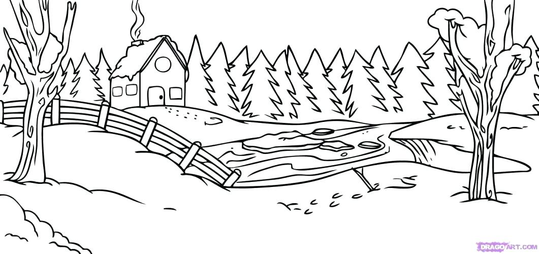 1061x500 Country Scenery Coloring Pages Printable Winter Scene Many