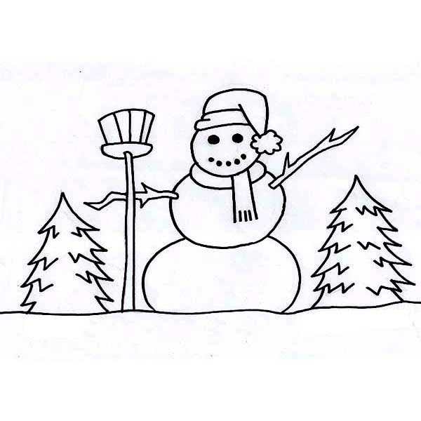600x600 Mr Snowman On The Field During Winter Season Coloring Page