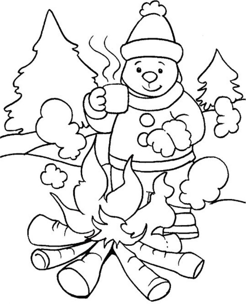Winter season drawing at free for for Winter animal coloring pages