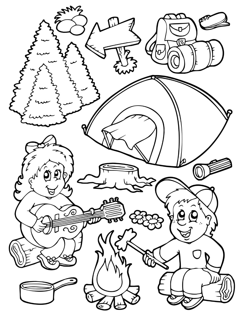 1000x1287 Winter Coloring Pages Camping Campfire Coloring Pages