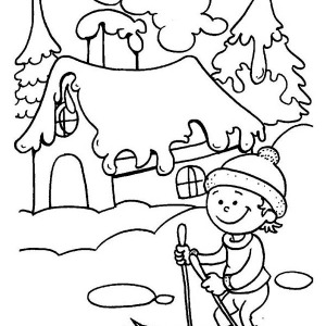 300x300 Winter Season Hat And Mittens In Winter Season Coloring Page