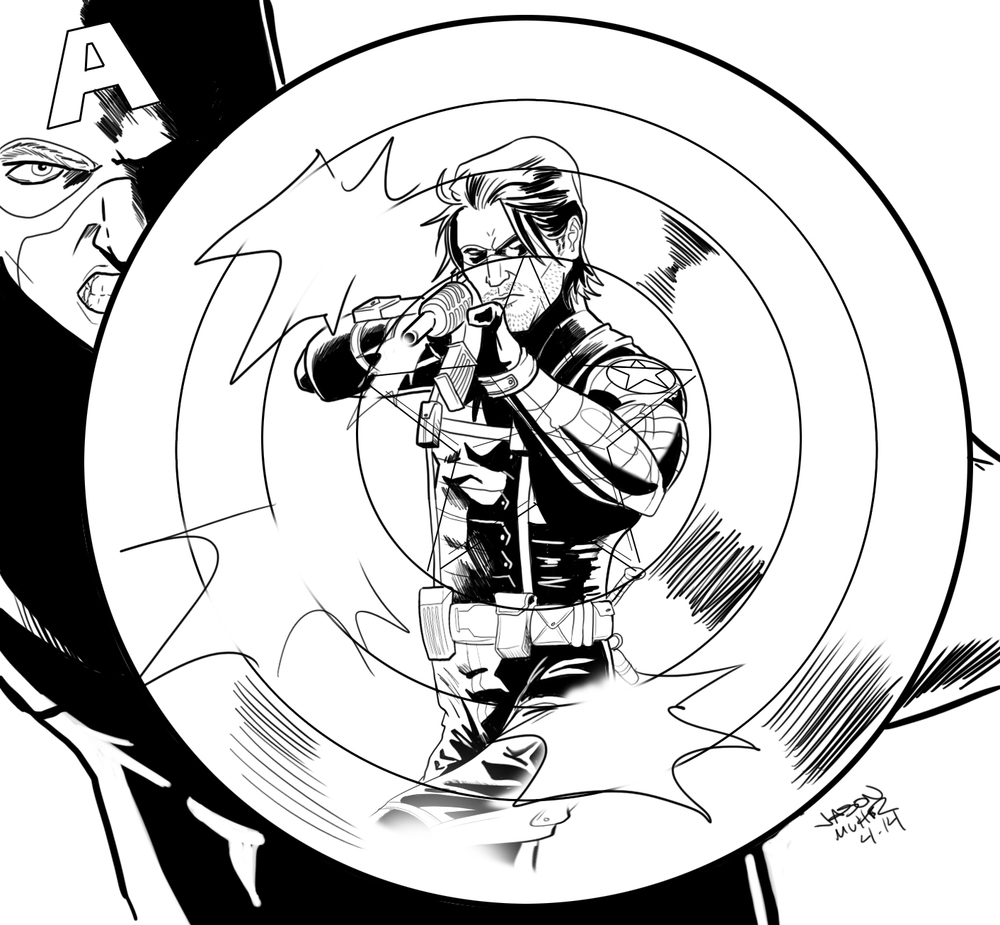 1000x925 Daily Sketch Captain America Vs The Winter Soldier Jason Muhr