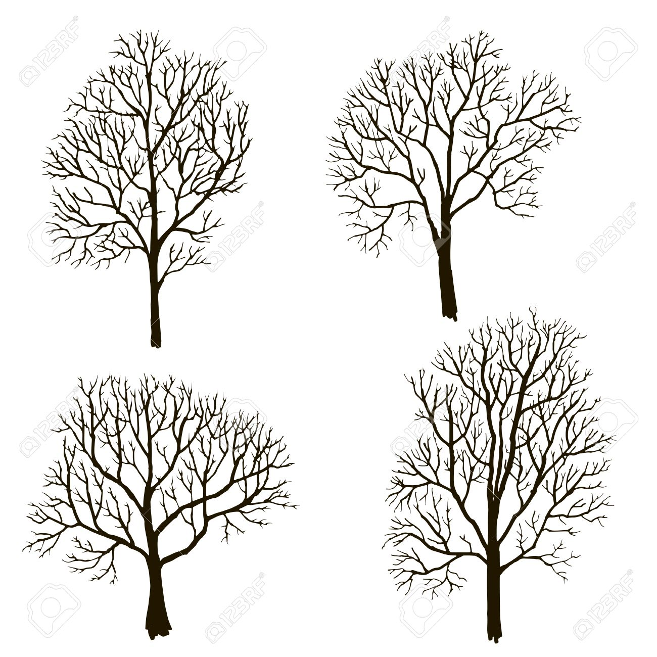 1300x1300 Silhouettes Of Tree Without Leaves, Winter Trees, Hand Drawn