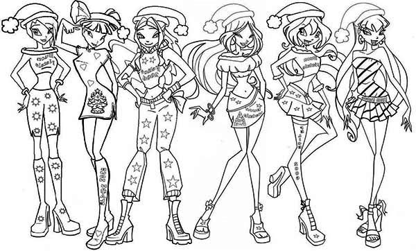 600x362 Merry Christmas Winx Club Coloring Pages Batch