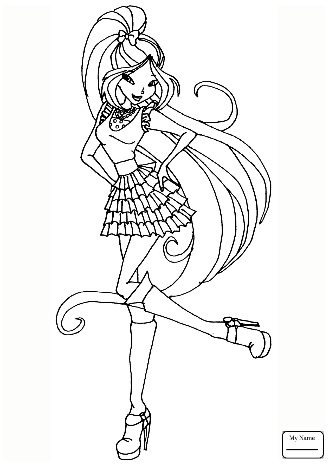 1265x1789 Winx Club Flora Coloring Pages Winx Club Layla Coloring Pages