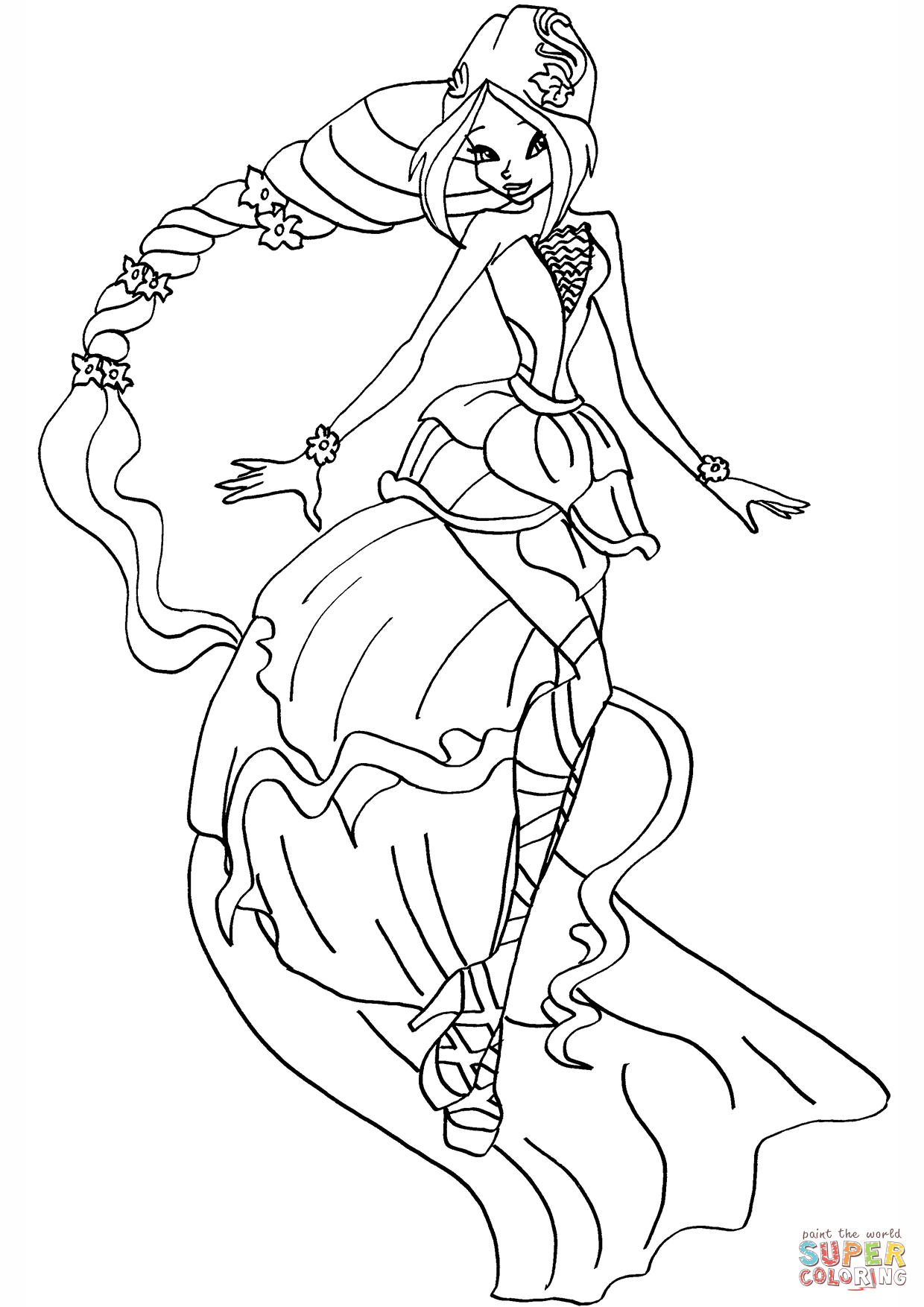 1240x1754 Winx Club Flora Harmonix Coloring Page Free Printable Pages