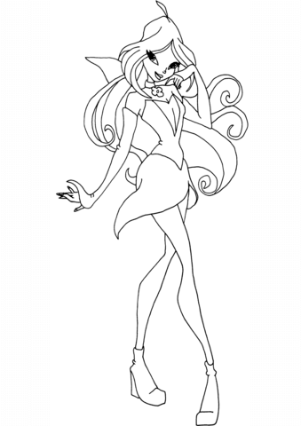 339x480 Winx Club Flora Coloring Page Free Printable Coloring Pages