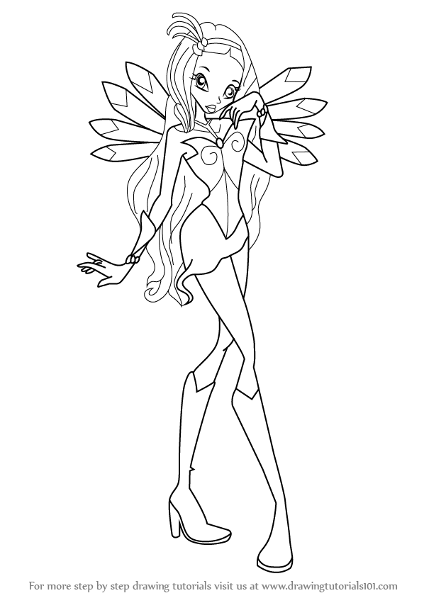 598x844 Learn How To Draw Diaspro From Winx Club (Winx Club) Step By Step