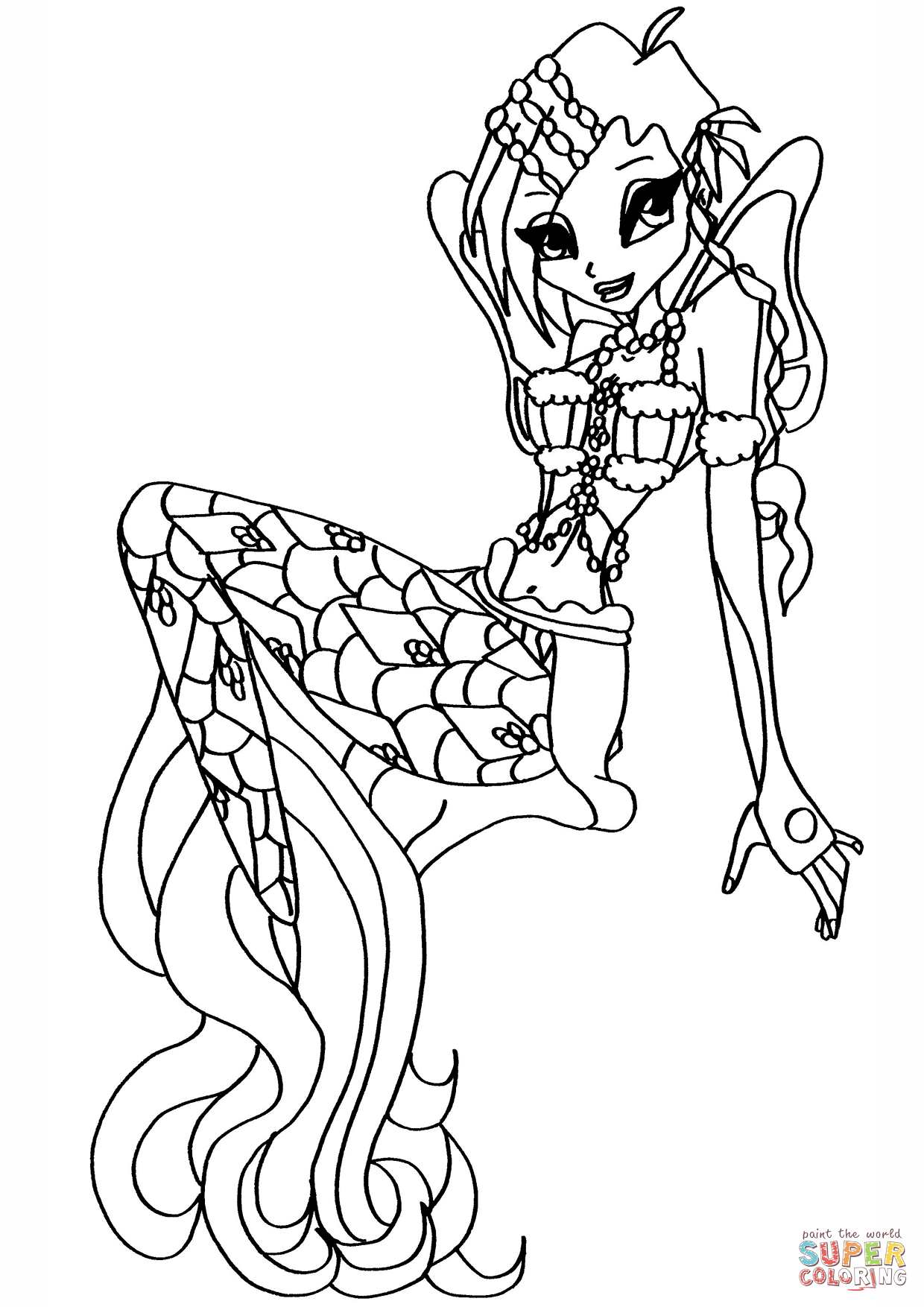 1240x1754 Winx Club Mermaid Tecna Coloring Page Free Printable Pages
