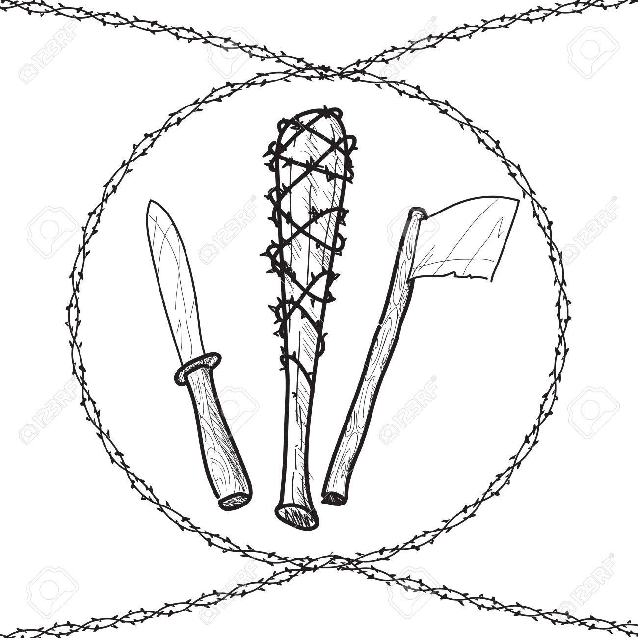 1300x1300 Knives Axes Baseball Wire Barb Bats Sketch Illustration Royalty