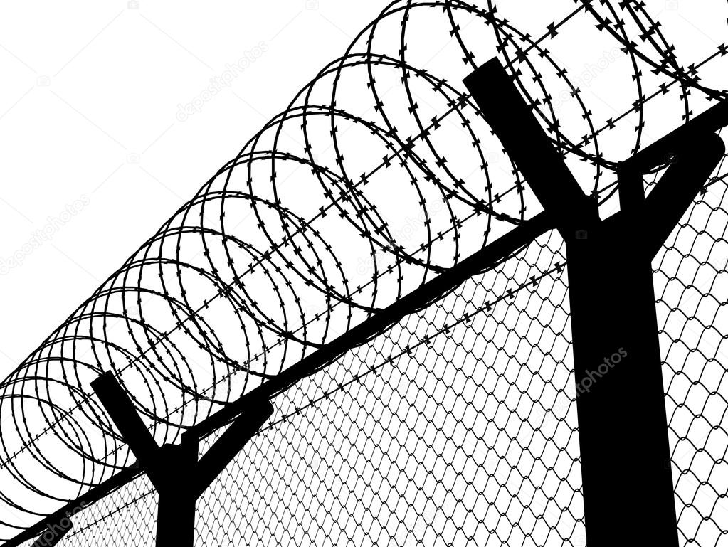 1023x769 Fence With A Barbed Wire Stock Photo Gl0ck