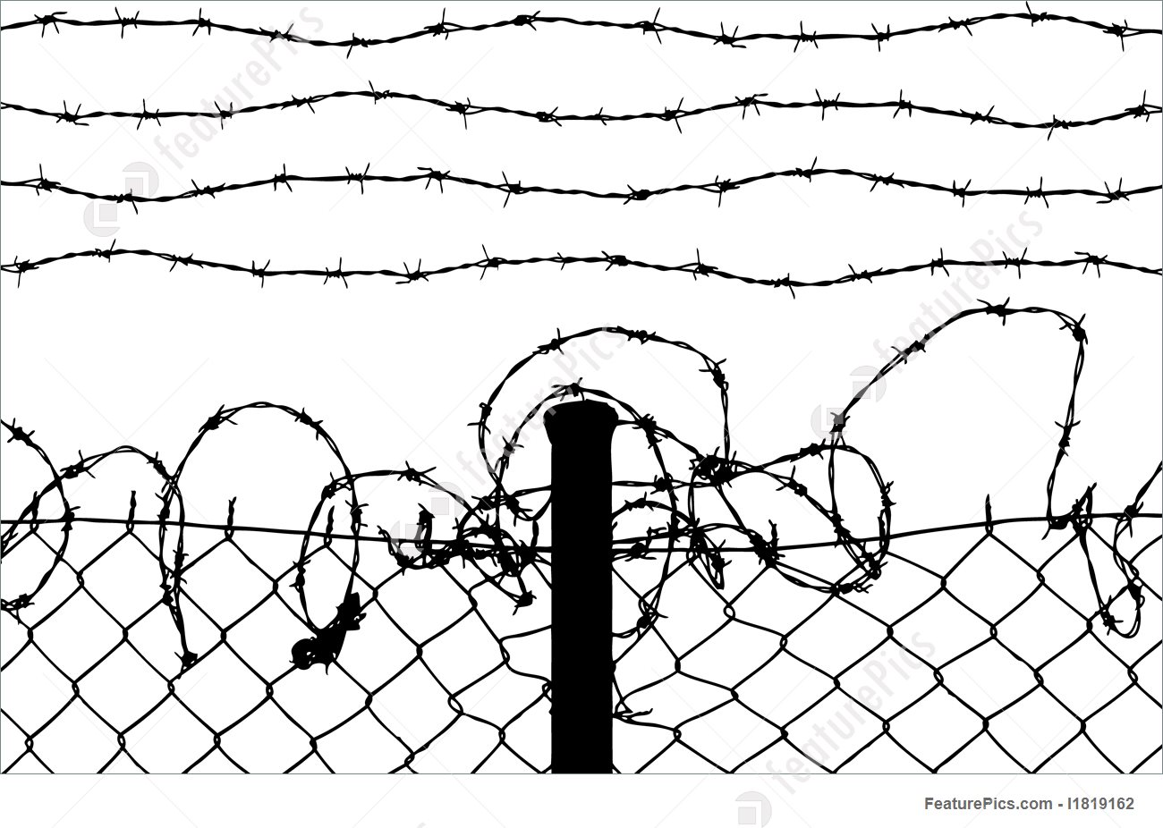 1300x926 Wired Fence With Barbed Wires Illustration