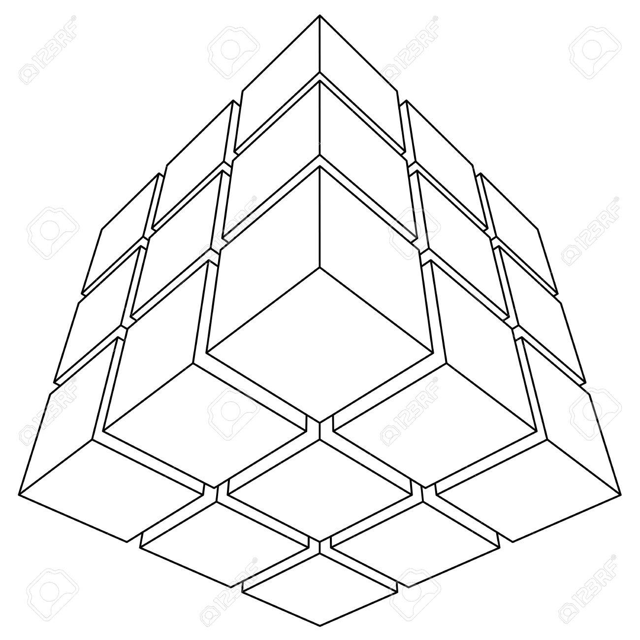 1300x1300 Wire Frame Mesh Outline Cube. Vector Illustration Royalty Free