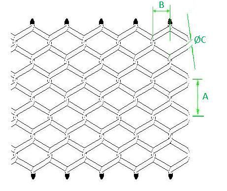 461x388 Cladding Woven Wire Fabric Stainless Steel Lozenge Mesh