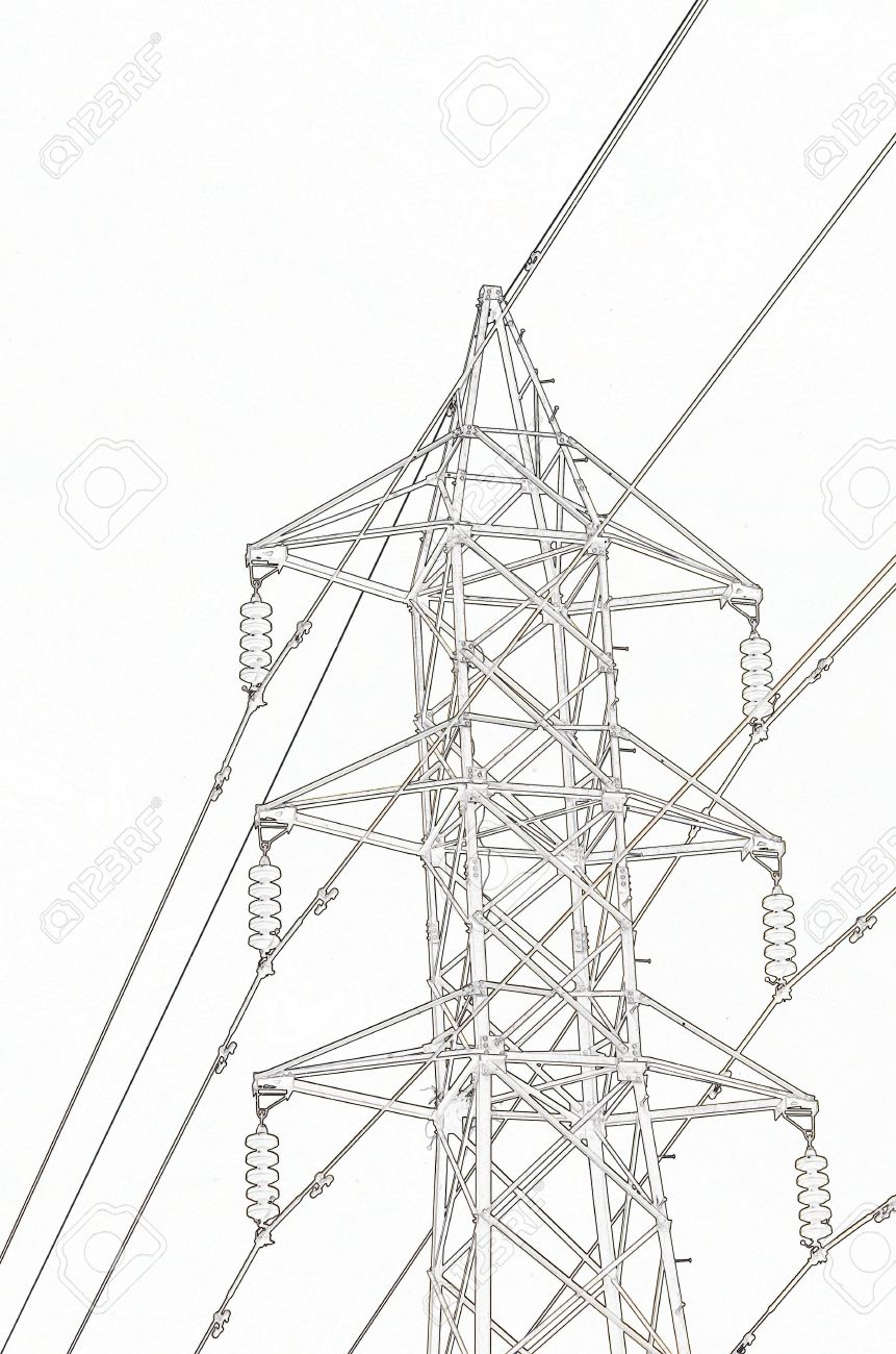 861x1300 Sketch Of Electric Pole With High Voltage Wires Stock Photo