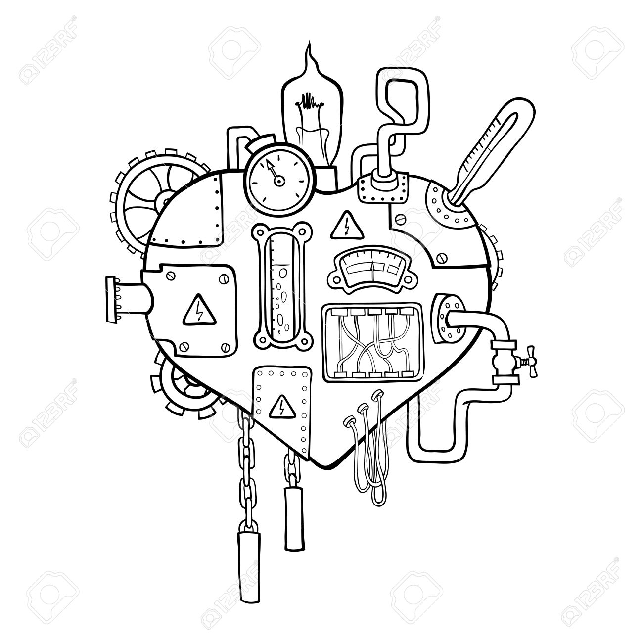 1300x1300 Stylized Graphic Image Of The Mechanical Heart, Embedded
