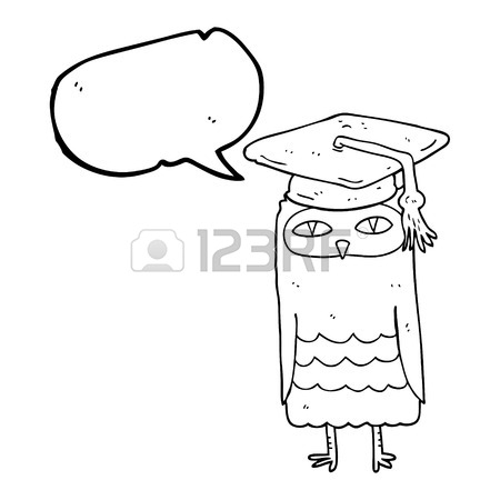 450x450 Freehand Drawn Comic Book Speech Bubble Cartoon Wise Owl Royalty