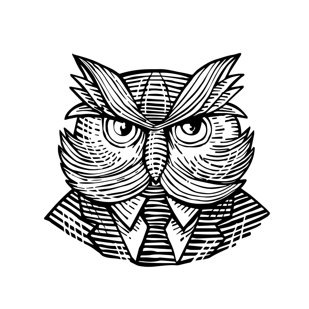 1000x1000 Hip Wise Owl Suit Woodcut On Behance