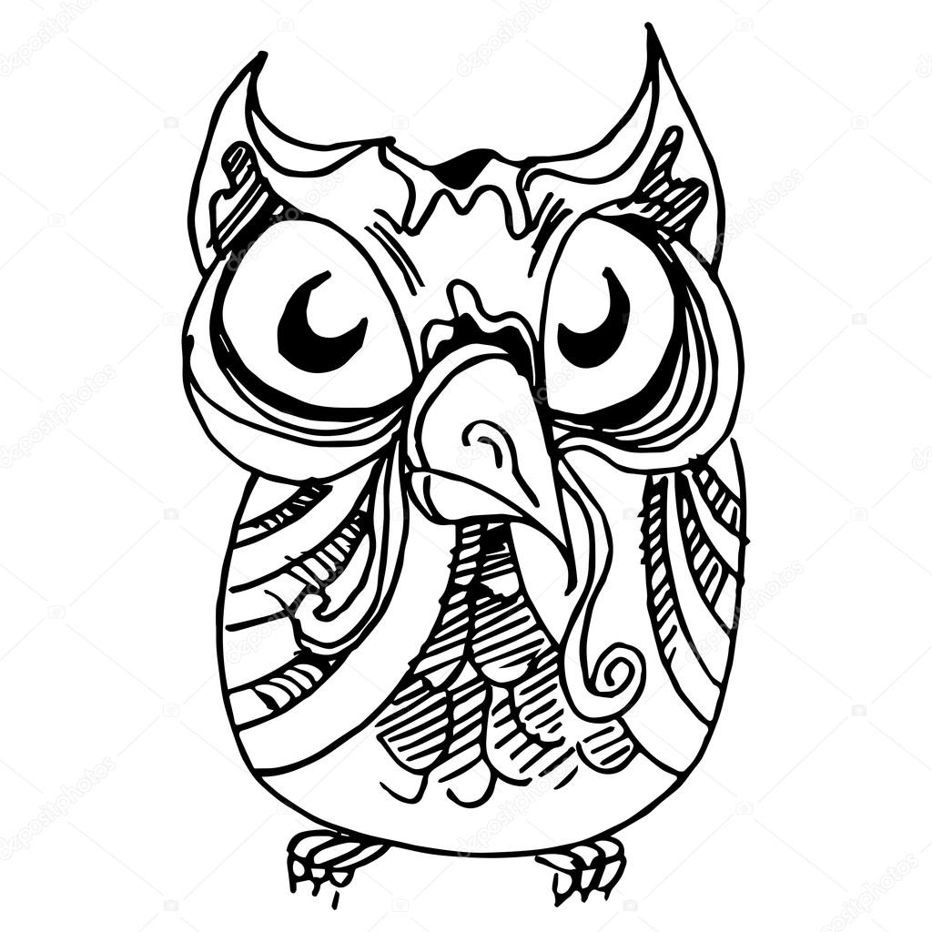 1024x1024 Wise Owl Drawing Stock Vector Cteconsulting