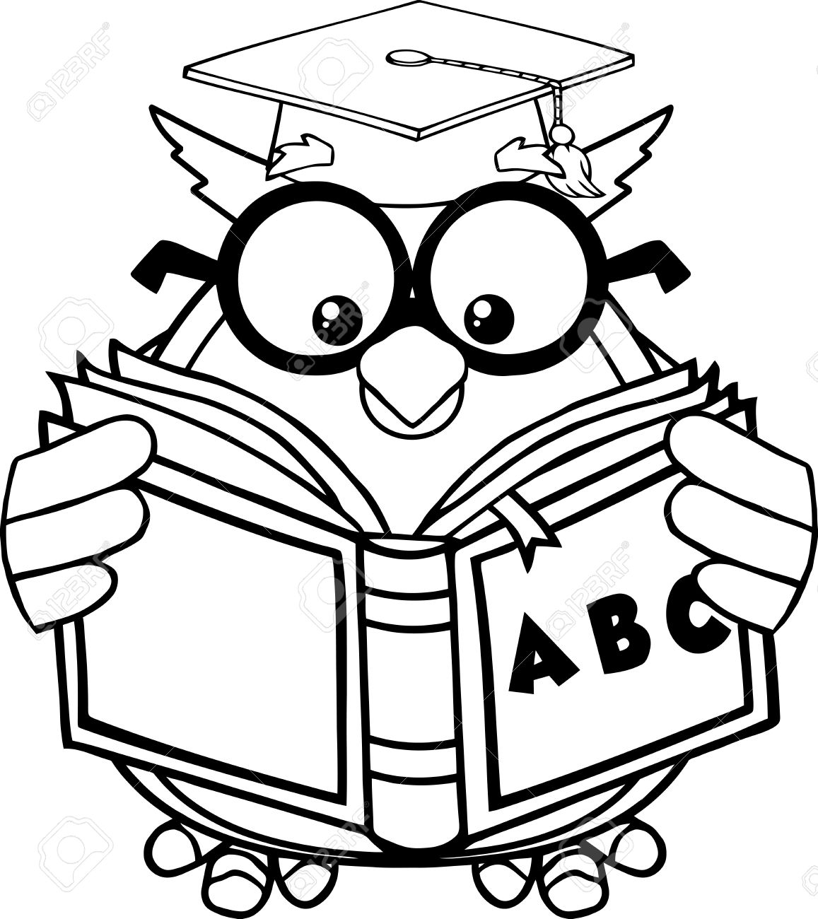 1157x1300 Black And White Wise Owl Teacher Cartoon Mascot Character Reading