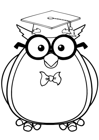 339x480 Wise Owl With Glasses And Graduate Cap Coloring Page Free