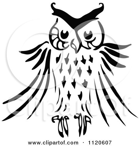 450x470 Clipart Vintage Black And White Wise Owl On Books