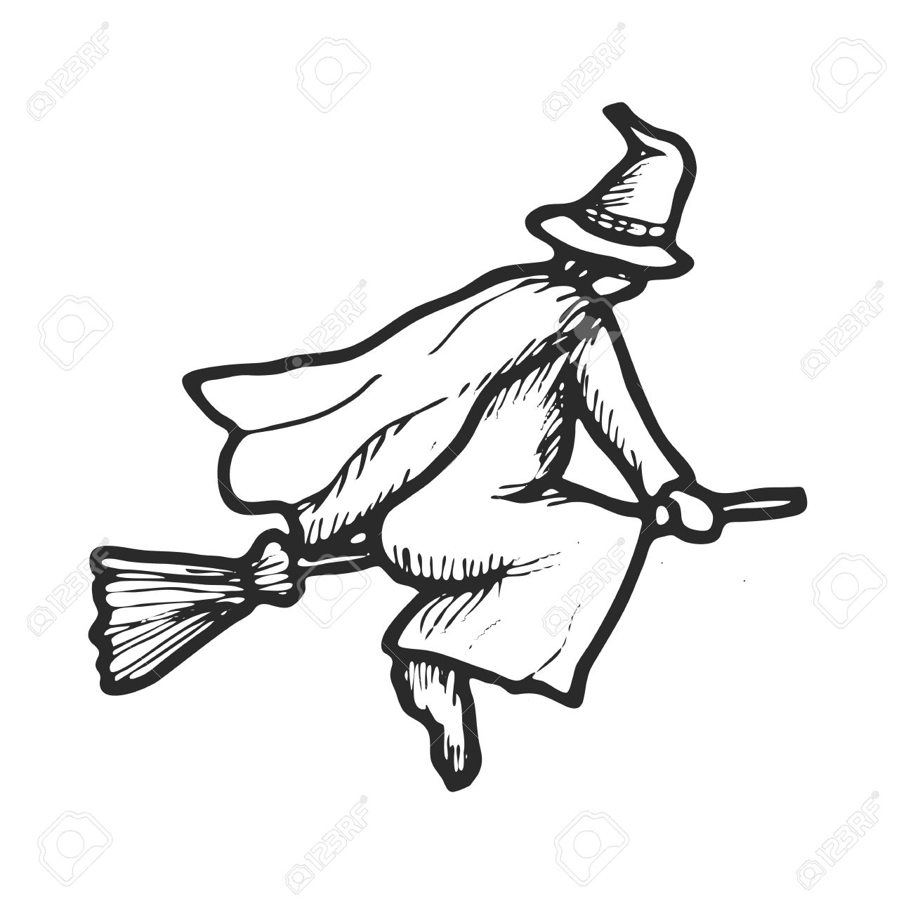 1300x1300 Hand Drawn Doodle Halloween Witch. Black Pen Objects Drawing