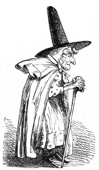 344x590 Vintage Black And White Drawing Of A Friendly Looking Witch