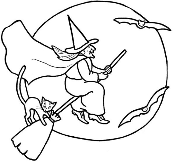 580x536 Halloween Witches Coloring Pages Preschool To Pretty Draw Print