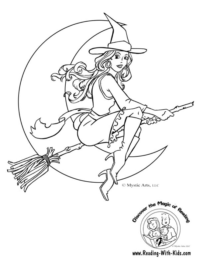 668x864 Halloween Witch Coloring Pages