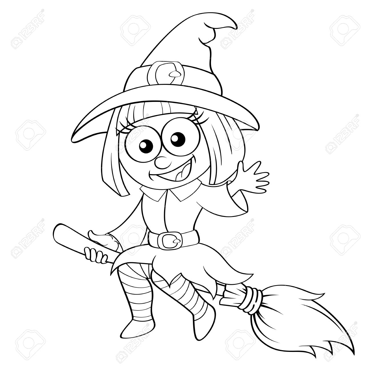 1300x1300 Halloween Witch Flying On Broom. Black And White Vector