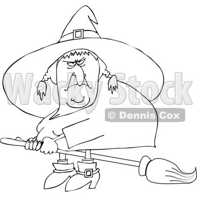 400x400 Outlined Mean Ugly Witch Flying On A Broom
