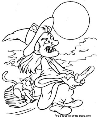314x377 Printabel Witch Flying On Broom Coloring Page For Kidsfree