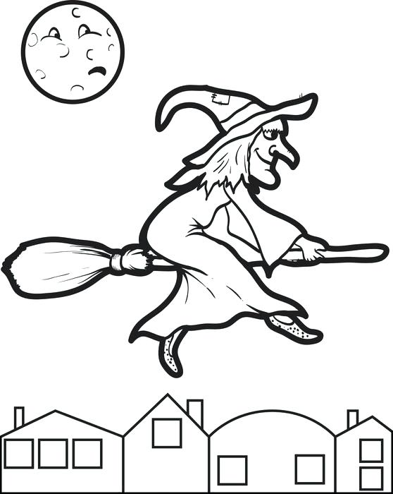558x700 Simple Witch Coloring Page Image Free Printable For Kids 7