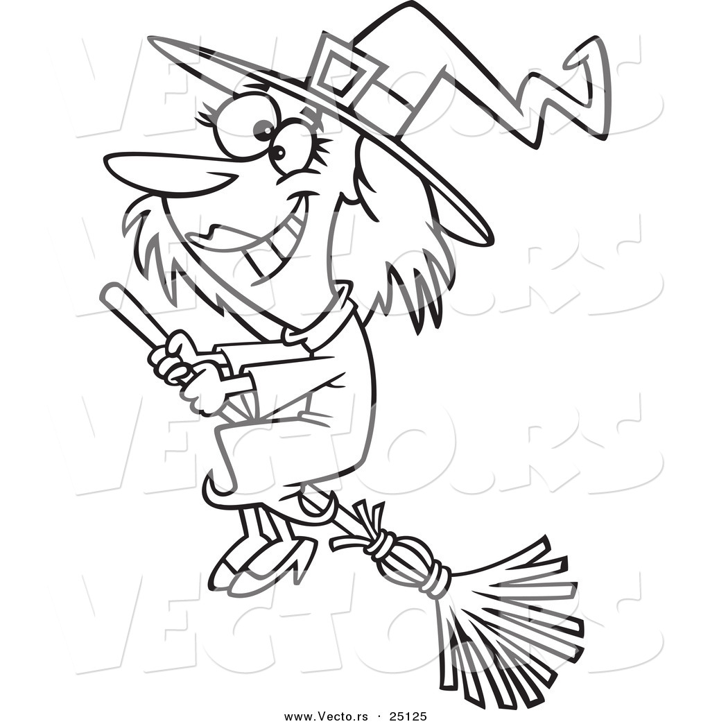 1024x1044 Vector Of A Cartoon Happy Halloween Good Witch Flying On A Broom