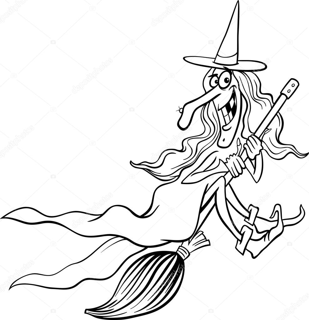 988x1024 Witch Cartoon For Coloring Book Stock Vector Izakowski
