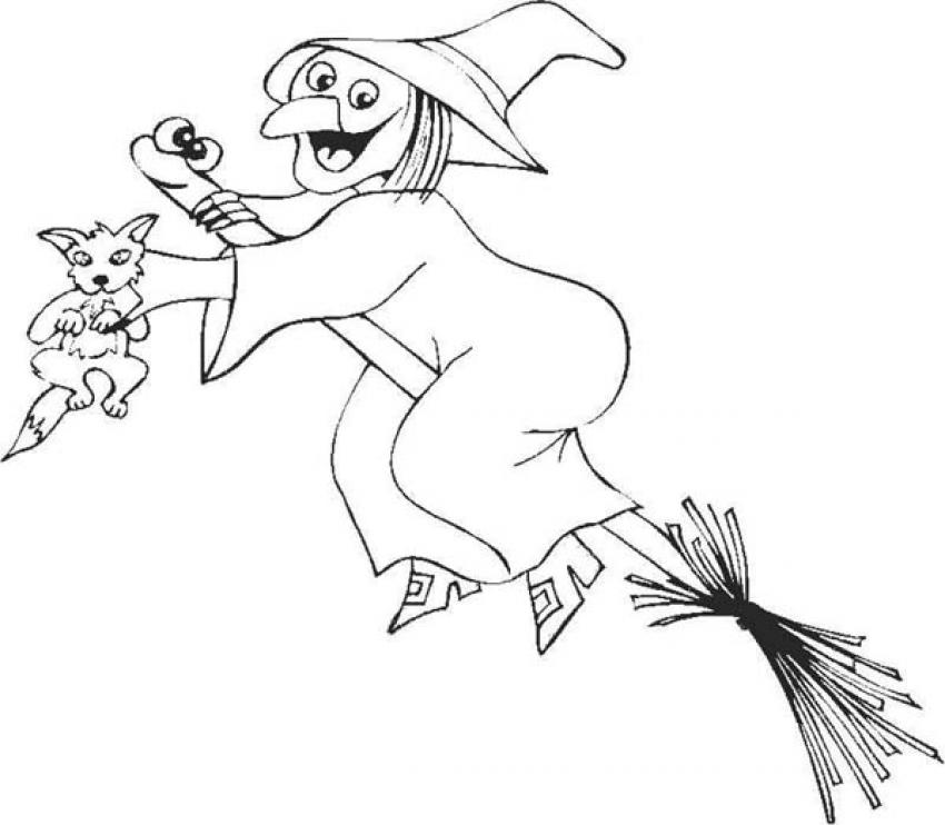850x742 Broom And Sorceress Coloring Pages