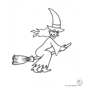 300x300 Coloring Page Of Witch On Broom For Coloring For Kids